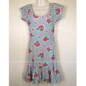 Betsey Johnson Floral Striped Ruffle Dress